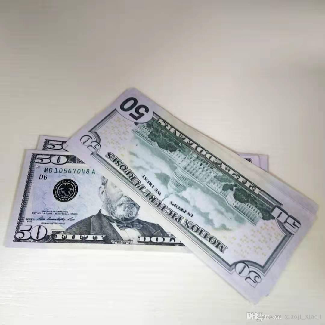 En dinero Billete de banco 50 Partido Money Dollors Prop Filete Artesanía Atmósfera EE. UU. Película Bill Juguete Juego Bar UDCHP