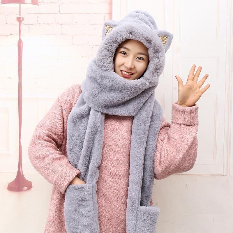 Прекрасные уши кота фаршированные женские зимние открытый зимний колпачок теплые наушники шляп шарф, перчатки1