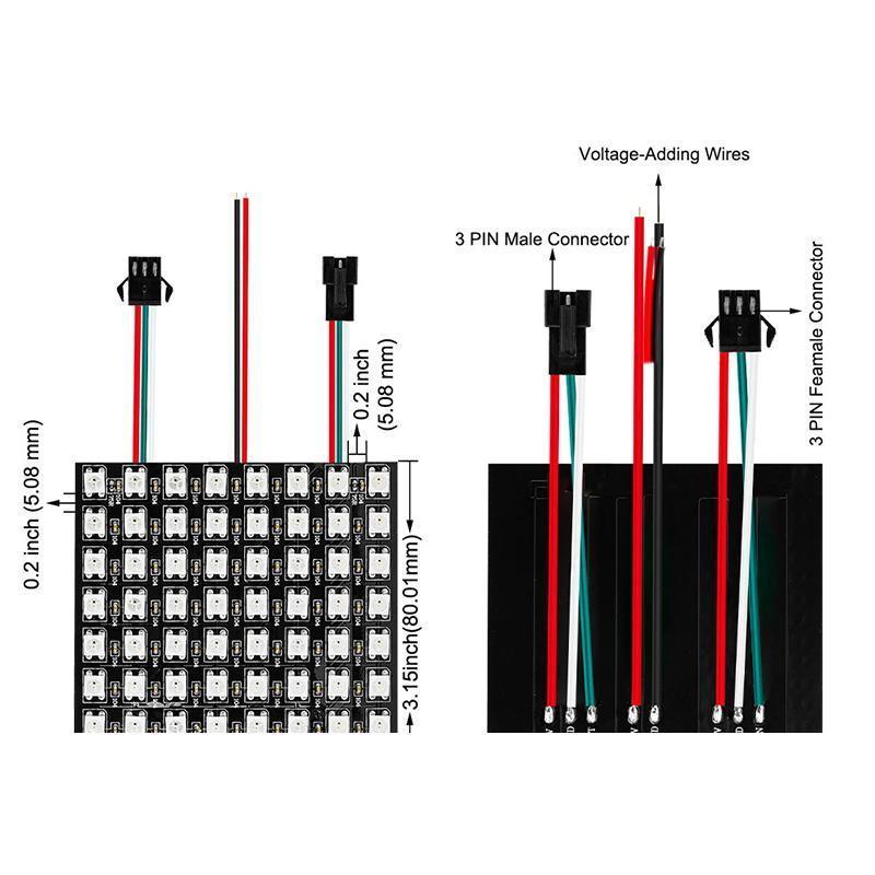 Modulo LED DC5V 8 * 8 16 * 16 * 32 centimetri 8 pixel del pannello WS2812B LED Full Color Digital flessibile individualmente indirizzabili Flex RGB Luci tabellone