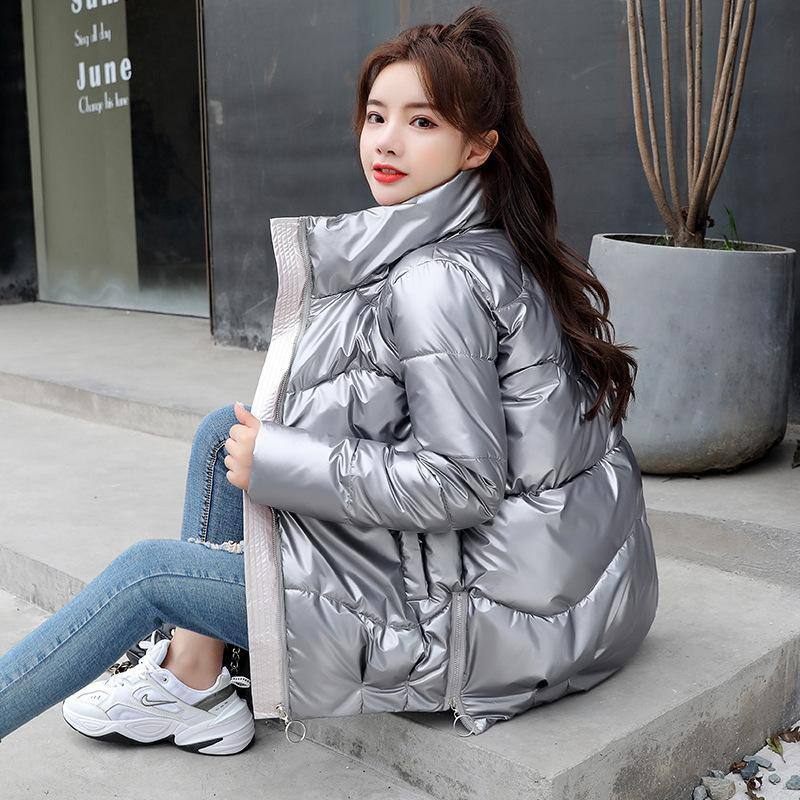 Veste d'hiver Femmes Parka Pain Manteau Plus Taille Coréen Slim Coupe Stand Collier Femme Down Coton Rembourbé Chevale brillant Femme Vêtements 201126