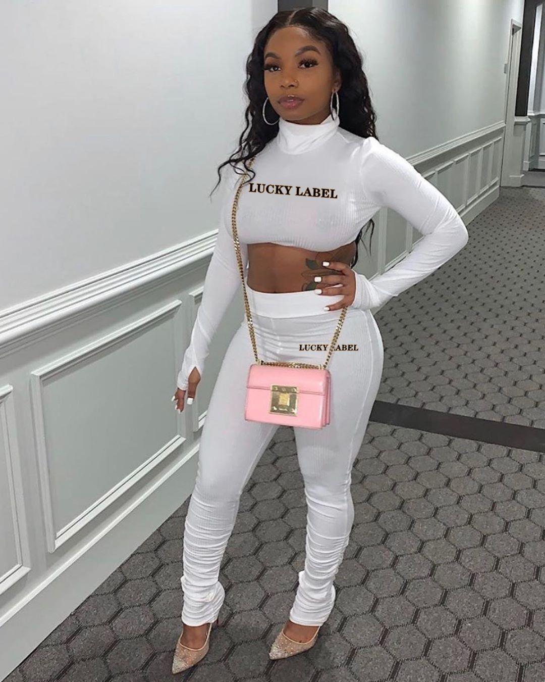 2020 Print Brief Zweiteiler Frauen Outfits Langarm Crop Top Leggings Passende Produkte Frauen Anzug Sportanzug s-xxxL