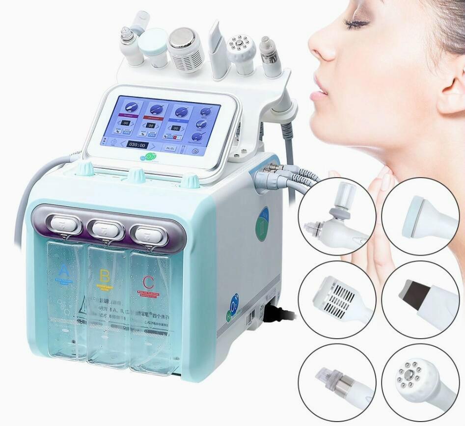 Facial neues Upgrade 6in 1 H 2 O 2 Hydra Dermabrasion Wasser Aqua Sauerstoff Spritzpistole RF Hydro Microdermabrasion Peeling Vakuum-Skin-Maschine reinigen