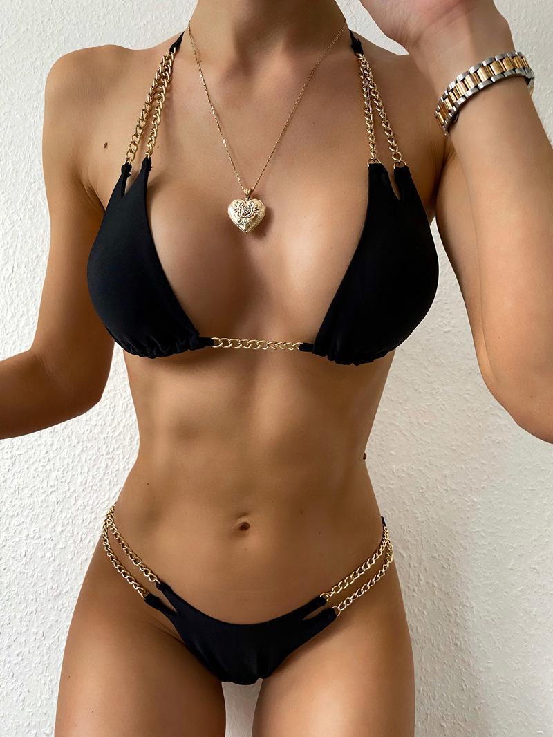 2020 Yeni Seksi Push Up Bikini Seti Üçgen Bikini Zinciri Bölünmüş Mayo Kadınlar Mayolar Mayo Halter biquini Plaj Giyim Q1107