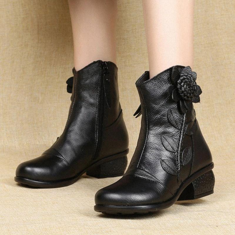 Stivaletti da donna Stivaletti 2020 Black Flower Short Boots Scarpe da donna Autunno Autunno Side Zipper Zipper High Top Shoes Shoes Donne # QM9F