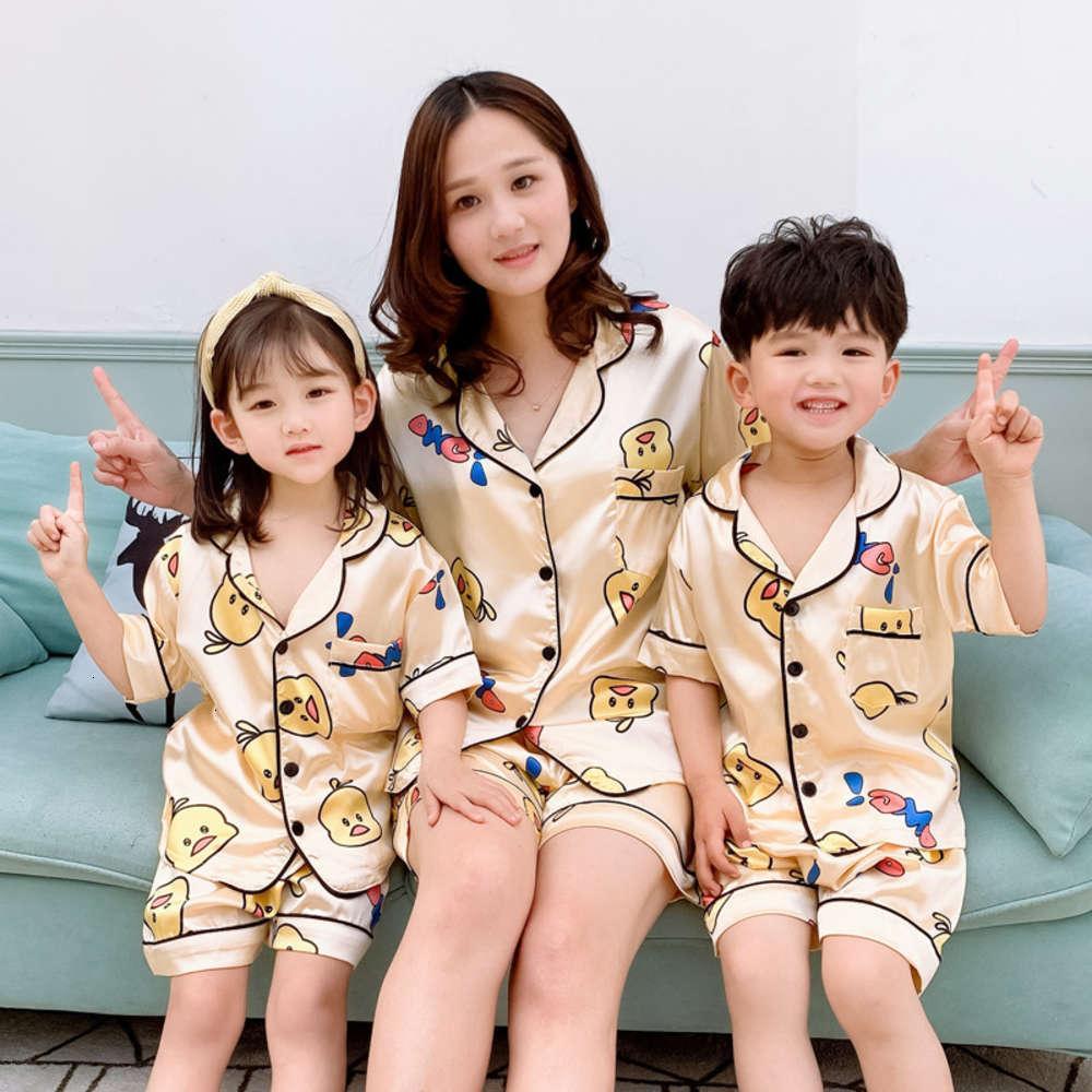 бытовые детские пижамы тонкий костюм лето ледяной мультфильм родитель ребенок мальчики девушки взрослые кондиционер ткань