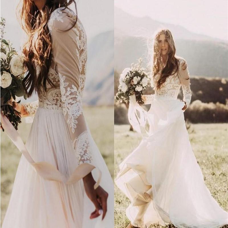 País Chiffon Jewel A-Line Vestidos de novia Sheer Mangas largas Appliques de encaje Boho Boho Boho Beapal Tallas grandes Hecho a medida