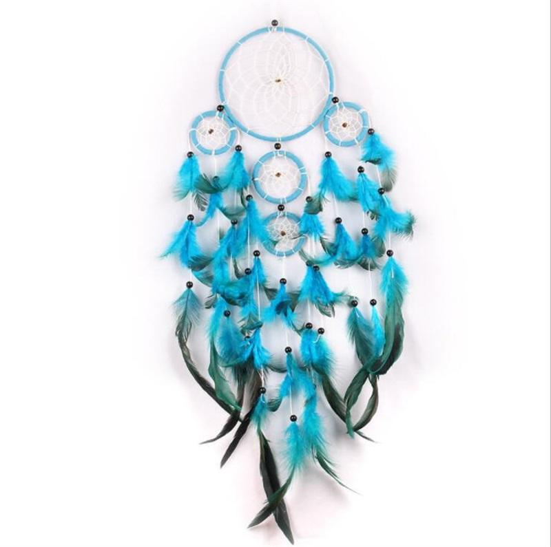 Handmade Dream Catcher Wind Chime Net Natural Feather Crear Mobília Ornamento Decore Blue Wall Hanging delicado Hot Sale 11 5JY M2