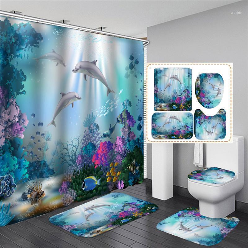 Meer Meer Dusche Vorhang Badezimmer Wasserdichte Sockel Teppich Deckel Toilettenabdeckung Bad Matte Set mit C-förmigen Vorhanghaken1