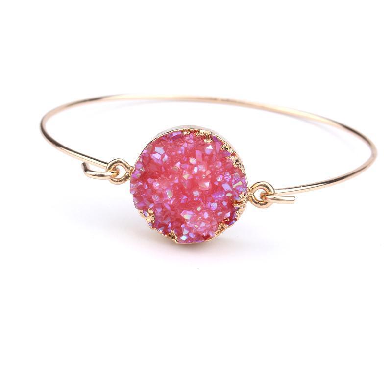 Gioielli di moda di dayoff Braccialetti di pietra del bracciale del bracciale del braccialetto del braccialetto del braccialetto del braccialetto del braccialetto dell'oro delle donne del colore dell'oro Geometrico falso Druzy Bangles Mano B200