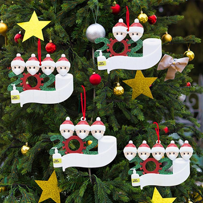 Quarantaine en bois de Noël Ornement 2020 Arbre de Noël Hanging Pendentif bricolage Nom bénédiction pendentif Bonhommes famille Boule de Noël IIA689