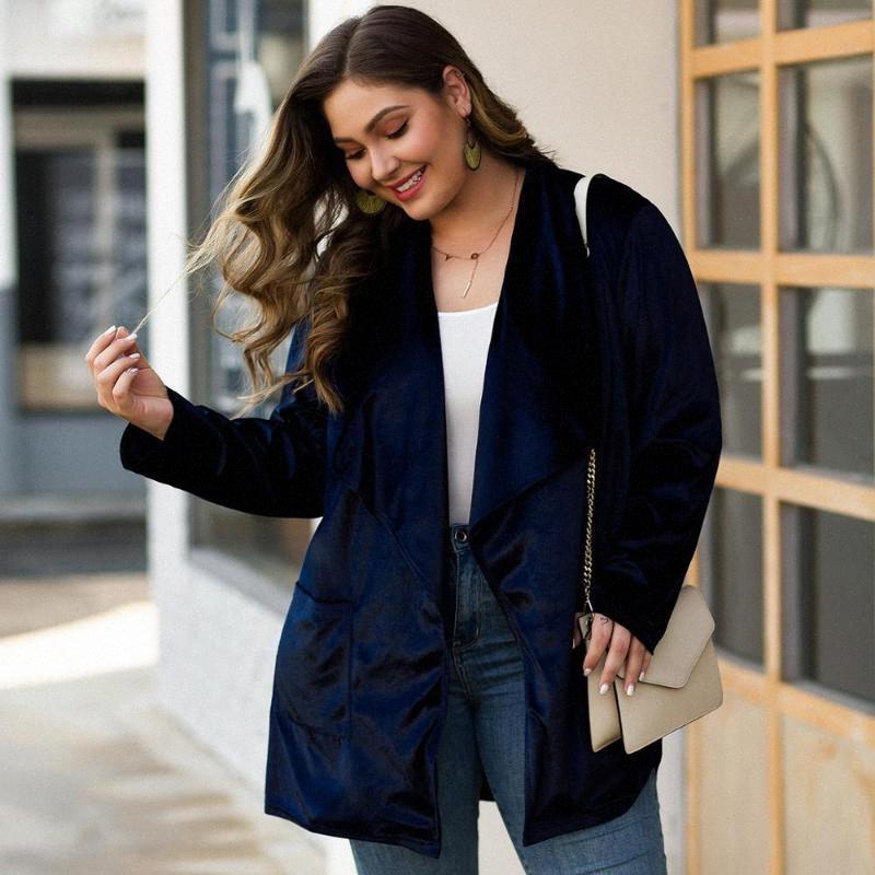 WHZHM Plus Size 3XL 4XL cappotti e giacche Loose Women Navy Blue gira giù colletto a maniche lunghe Velvet parti superiori delle signore Femme Abbigliamento j0uB #