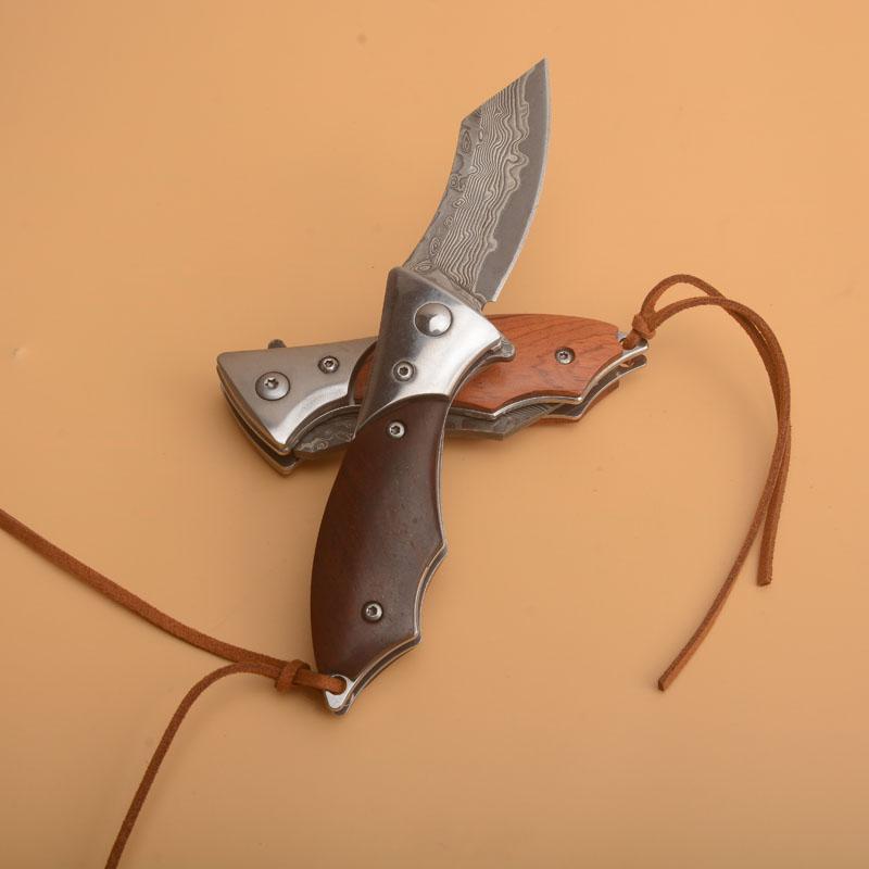 Sonderangebot Klein VG10 Damaskus-Stahlblatt Kugellager Flipper Folding Messer-Rosenholz + Edelstahl-Blatt Griff Withy Nylon-Tasche