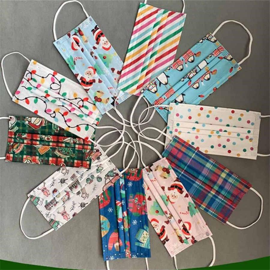 Scarf Flag 50pcs 3ply Filters Disposable Christmas Party Adult Fashion Snowman Printed Christmas Party Decoration Cosplay