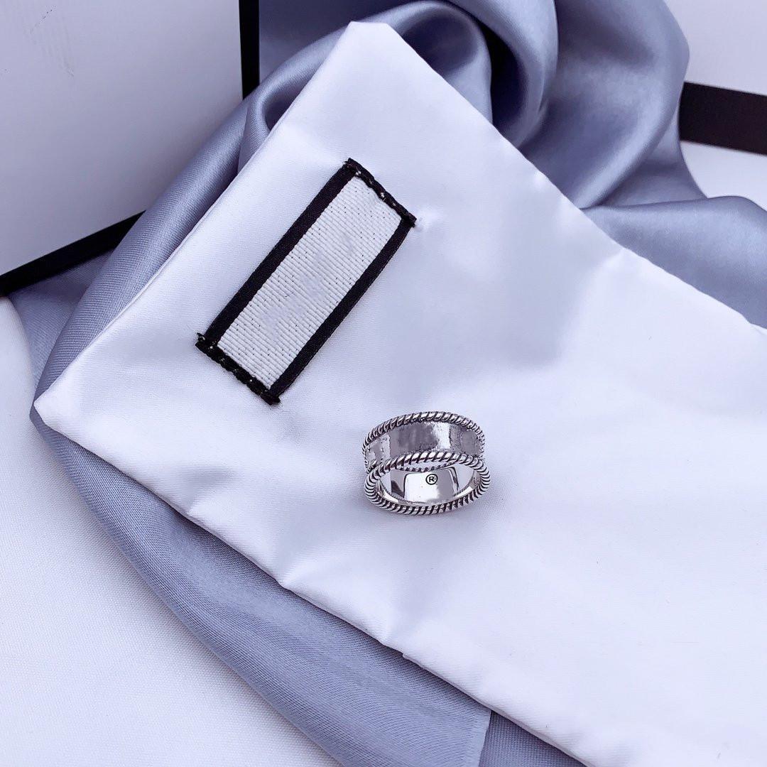 G письмо переплетение рисунка кольцо стерлингового кольца стерлингового серебра 925 старое резное шероховатое кольцо кружева простые и универсальные модные украшения