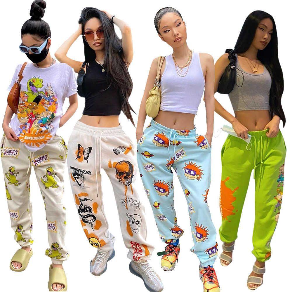 Mode femmes pantalons dessin animé imprimer automne hiver nouveau pantalon de sport dames lâche pantalon long avec poches dames nouveaux leggings de mode 2020