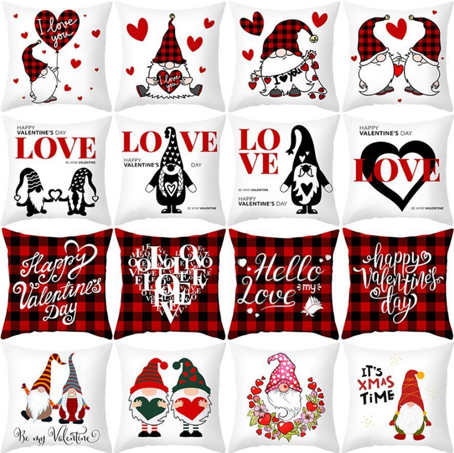 84 couleurs Saint Valentin Taie d'oreiller Hearts Coeurs Piefover Square Stripe Home Pillowslip Coussin de coussin Coussin Coussin Coussin