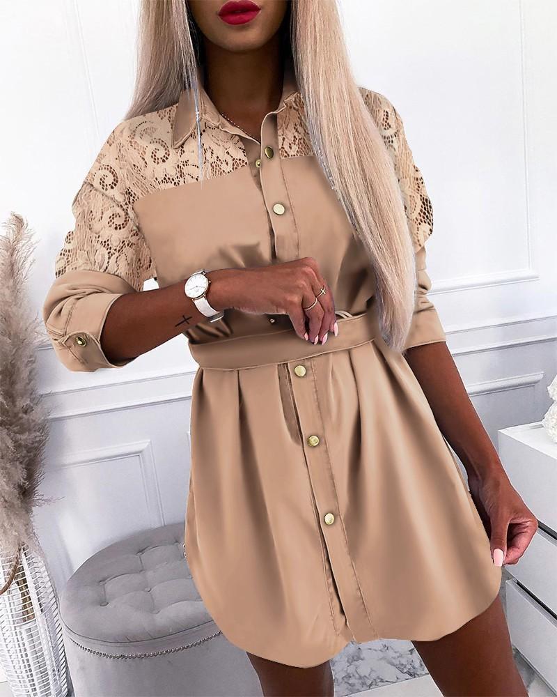 여성 레이스 패널 셔츠 드레스 중공 밖으로 긴 소매 싱글 브레스트 드레스가 새끼 숙녀 패션 옷