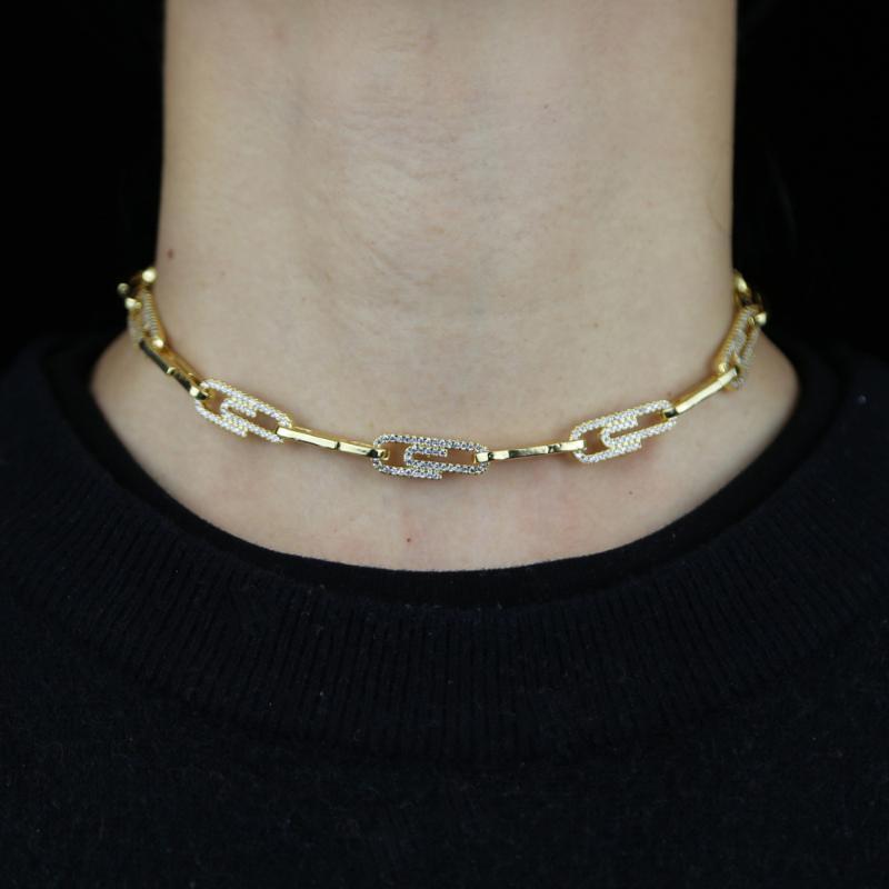 2021 جديد الشرير ورقة كليب طوق المختنق قلادة القوطية الفتيات الأزياء الهيب هوب كوليرز للنساء السلامة دبوس سلسلة قلادة المجوهرات