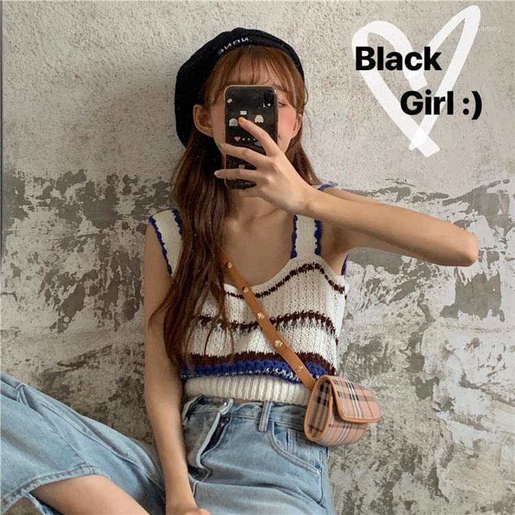 sweet Korean style new summer Women's Clothing fashion sleeveless crop tops Female striped panelled thin knitted camis vest hot1