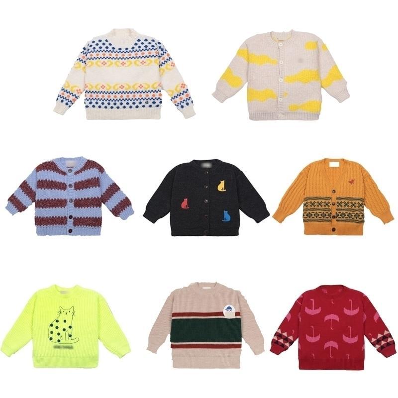 Детские свитеры Новые осень зима мальчики девушки мода печатают вязание кардиган ребенок ребенок хлопок милая прекрасная пуловерная одежда Y200901