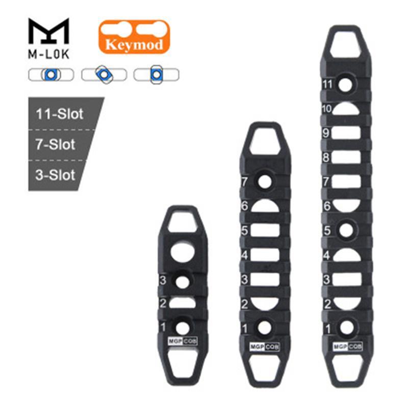 3/7/11 슬롯 Keymod MLOK 호환 핸드 가드 레일 스트립 Picatinny Rail AR 무료 플로팅 액세서리