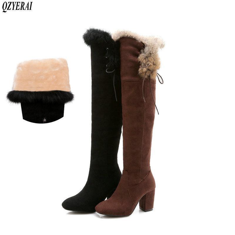 QZYERAI Nuovi stivali stile inverno caldo stivali alti al ginocchio della neve donne del cuoio genuino 7.5cm alti calza delle donne Vero calde pellicce