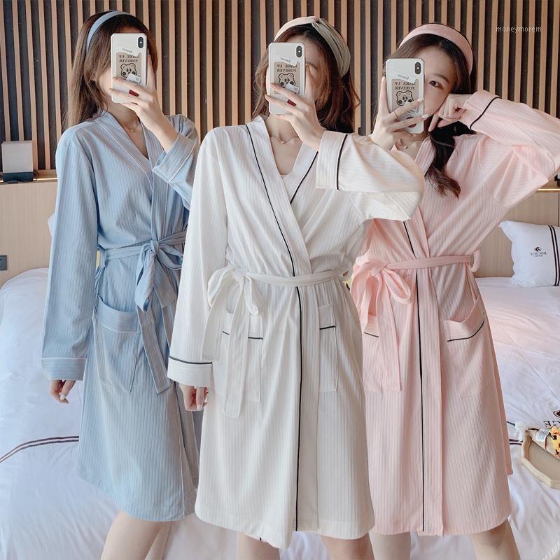 2020 autunno inverno manica lunga 100% cotone kimono accappatoi per le donne Sleepwear Accappatoio bianco Femme Bath Robe Homewear Home Attry1