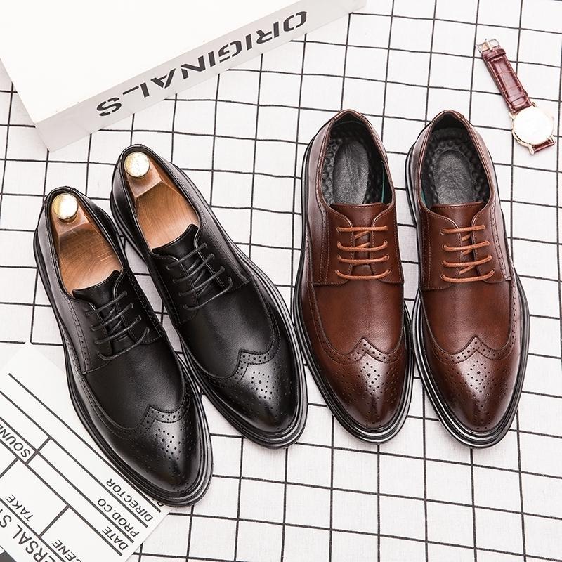 Jazzposture 2020 nuevos zapatos de vestir de los hombres hombres clásicos retro de encaje de los hombres de los hombres de los hombres de los hombres de los zapatos de cuero LJ201015