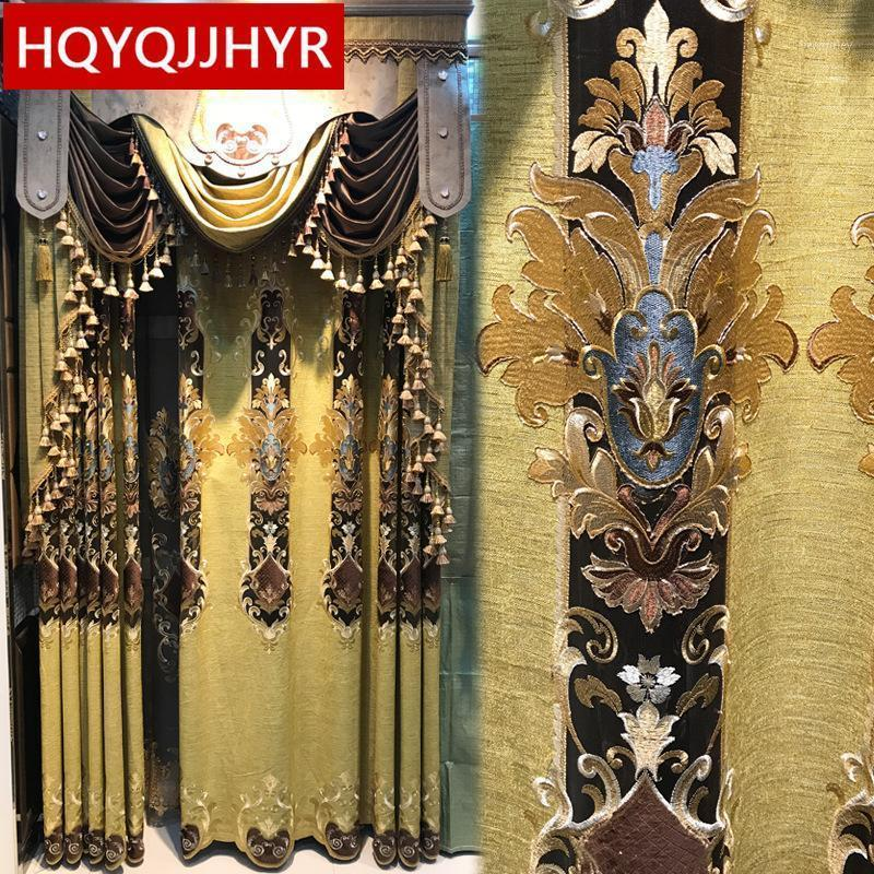European and American luxury villas embroidered curtains for Living Room windows custom high-end classic curtains for Bedroom1
