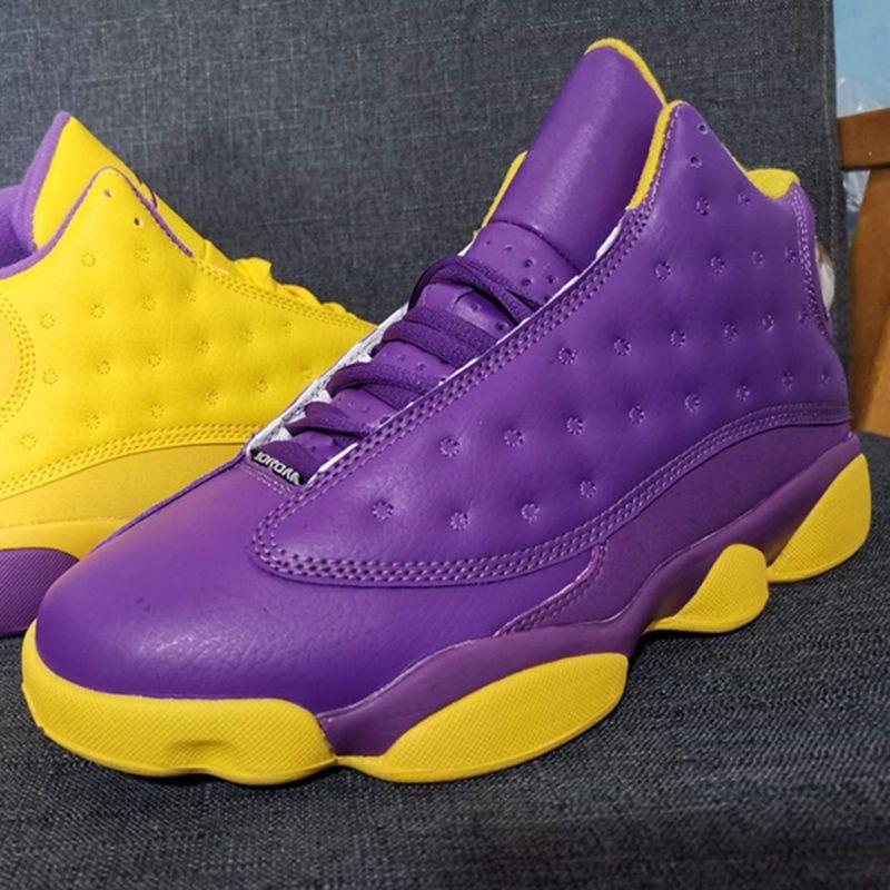 2021 Nouveaux Lakers Jumpman 13 Chaussures de basketball 13s Violet Yellow Mens Trainer des Chaussures Sport Sneakers Taille 40-47
