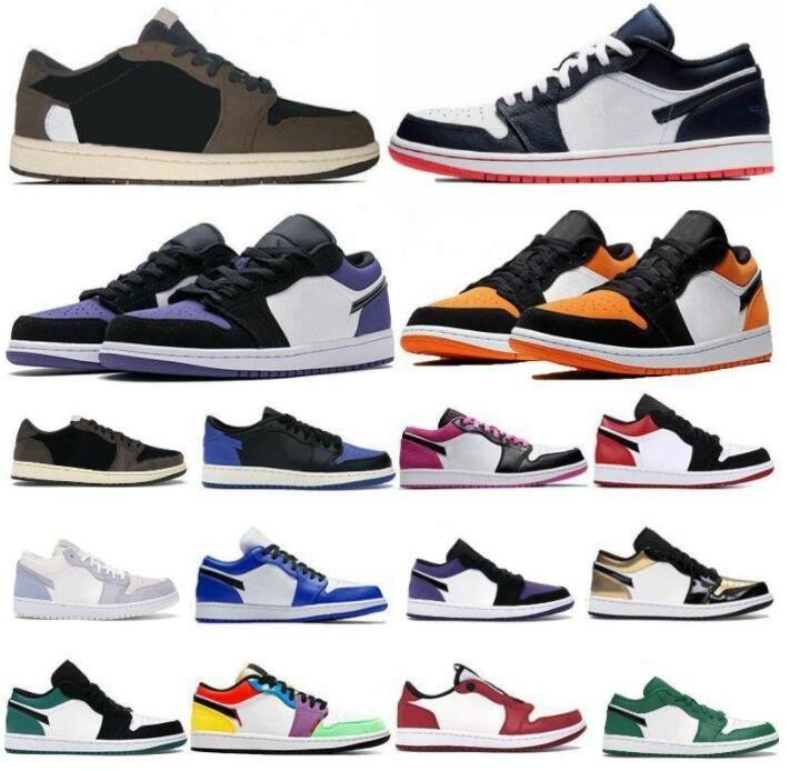 2021 jumpman منخفضة 1 ثانية أحذية كرة السلة أعلى OG أسود تو المحكمة SP ترافيس سكوتس الرجال النساء أحذية رياضية يورو 36-46 دون مربع