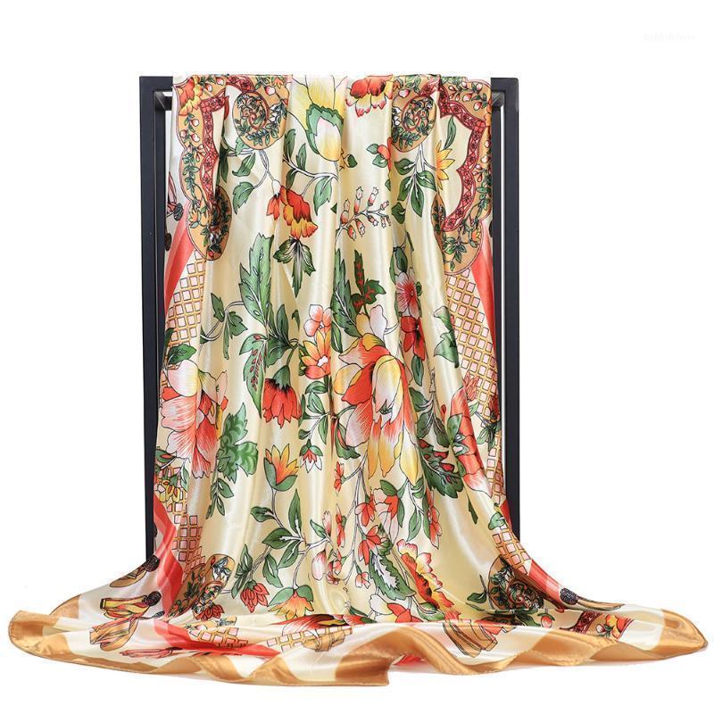 Atkılar Moda Saç Eşarp Kadınlar için Çiçek Baskı Ipek Saten Başörtüsü Eşarplar 90 cm Kare Başörtüsü Atkısı Bayanlar FJ4051
