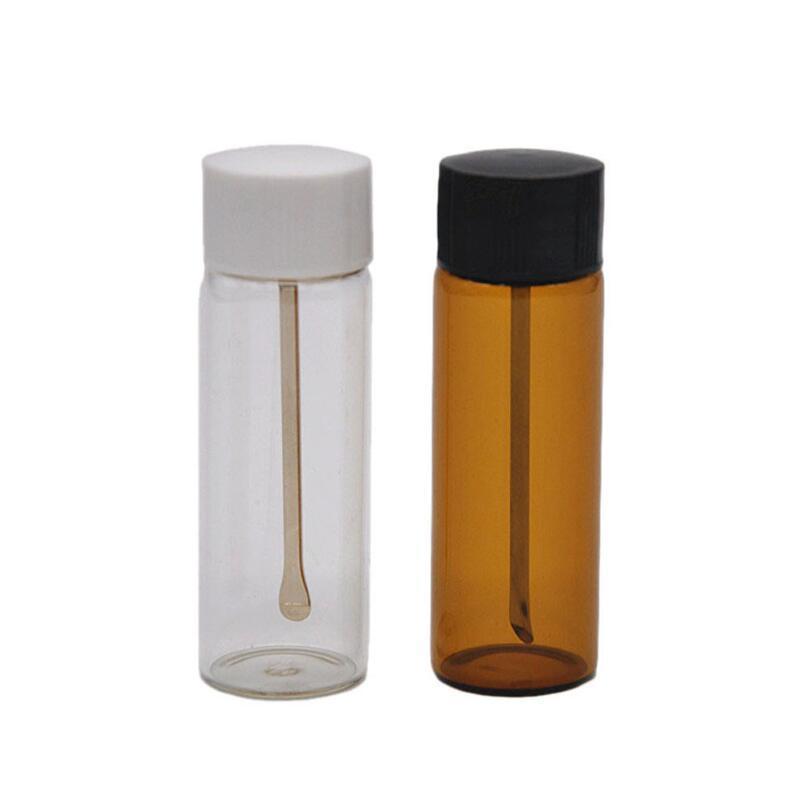 واضح / براون زجاج شم المعادن فيال ملعقة التوابل رصاصة الفخم زجاجة تخزين مربع حبوب منع الحمل حالة الحاويات أخف لون مختلطة هدية BWD2777