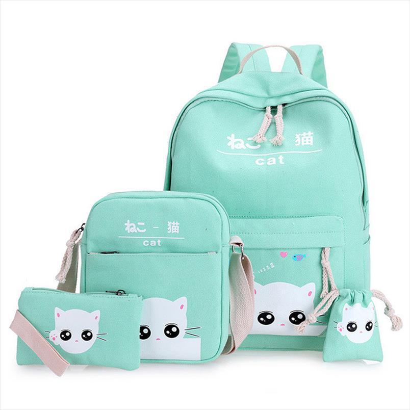 4 Set PCS Mochila de la escuela Lindos Cats Satchel Bolsas escolares para niñas Bolsa de la mochila ortopédica para las niñas Bagpack Mochila