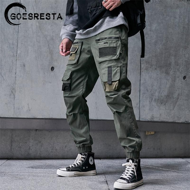 Pantalones de carga Hombres Hombres Black Hip Hop Streetwear Fashion Cotton Joggers Sweetpants Casual Harem Pantalones Verano Harajuku Tide Clothing 201133