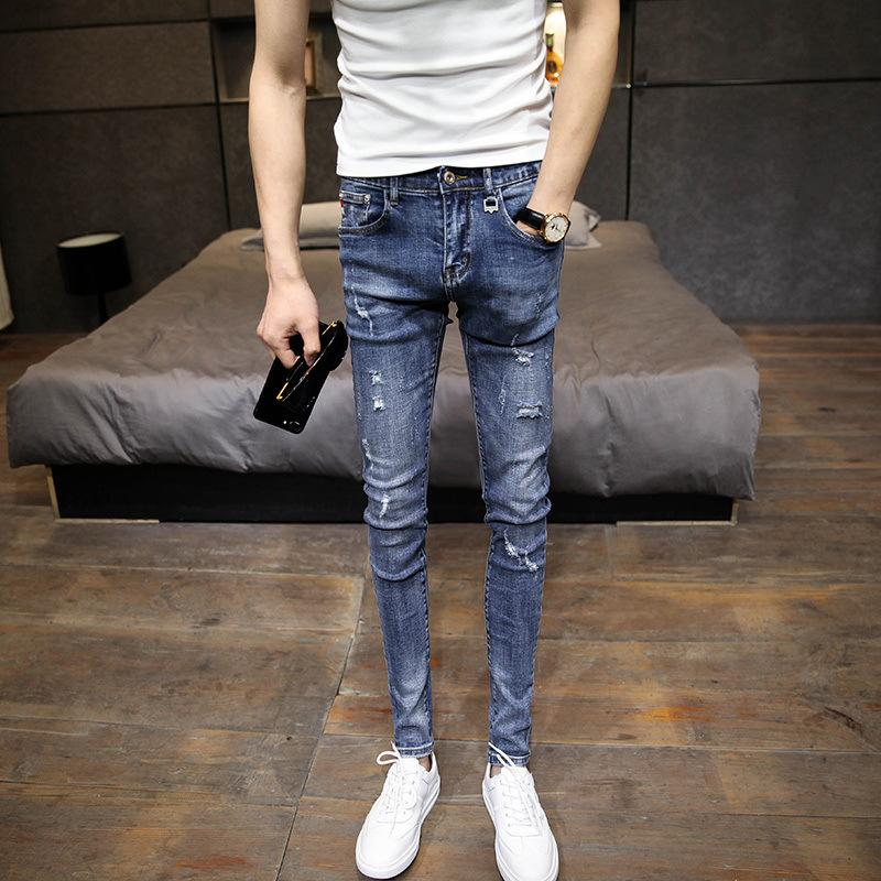 Hot 2021 мода стрейч джинсы самооценки с небольшими ногами подросток отверстия корейский мужской повседневные тренды карандаш брюки