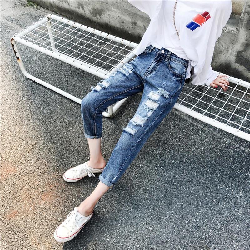 Kadın kot pantolon jujuland kadın delik sonbahar moda rahat gevşek artı boyutu yüksek bel hattı harem 8888