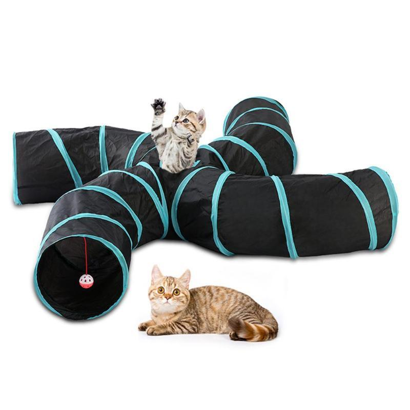 2/3/4/5 Holes Foldable Pet Cat Tent Tunnel Pet ExerciseTube Collapsible Play Toy S-type Indoor Outdoor Puppy Training ToysTube
