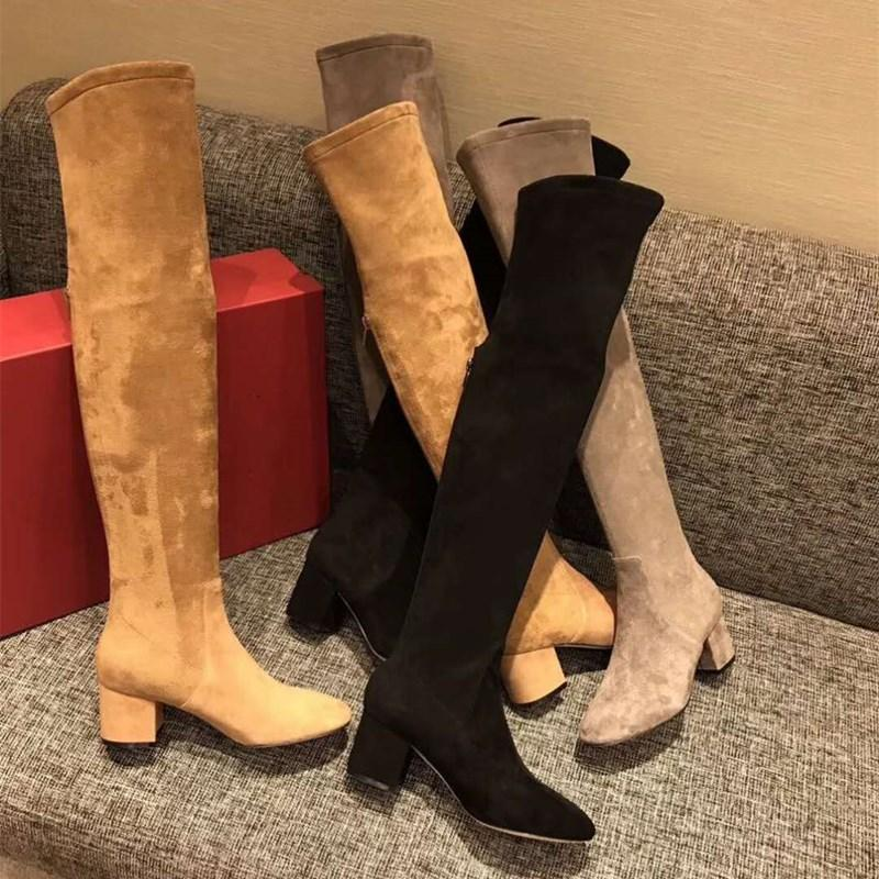 botas over-the-knee outono de 2020, camurça perna longa super ensacado de fundo chato, botas de volta zipper skinny, não pode seguir fora as botas coxa-alta