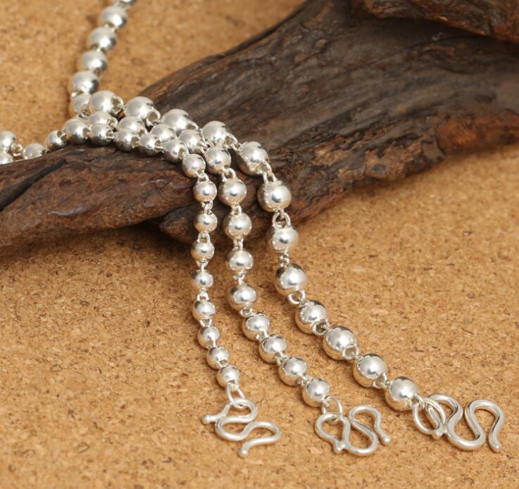 KJJEAXCMY edlen Schmuck S925 reinem Silber männlichen und weiblichen Universal 4.0mm runde Perlen Perlen Halskette Pullover Kette.