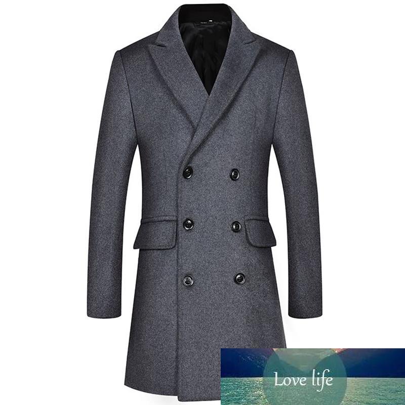 Thoshine бренд зима 37% шерстяных мужчин толстые слои двубортные классические поворотный воротник мужская мода шерстяная смесь куртки траншеи