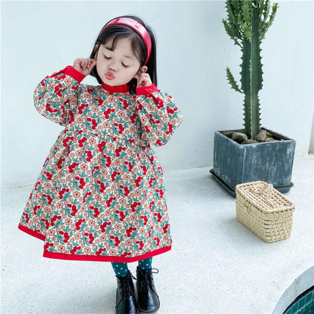 et hiver 2020 Coréen pour enfants Collier de vêtements de cerise de fille avec coton épaissie DRS