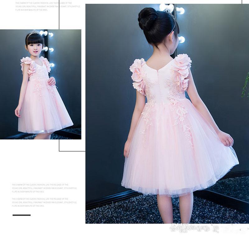 Vestidos de niña de flores hechos a medida para la princesa rosa de la boda de la princesa de encaje de encaje de la princesa de la vendimia de la vendimia Vestidos de la primera comunión