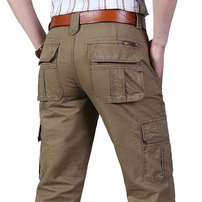 Pantalones de carga para hombre Pantalones de algodón ocasionales Multi Bolsillos Monos Militares Pantalones tácticos militares Hombres Outwear Pantalones rectos más Tamaño 44 201109