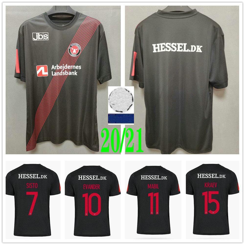 2020 2021 Dinamarca Club FC Midtjyland Jerseys de fútbol Sisto Evander Mabil Kraev Onyeka PERSONALIZADA 20 21 HOME NEGRO BLACK MENS FUTBALTS T SHIRTS Uniformes