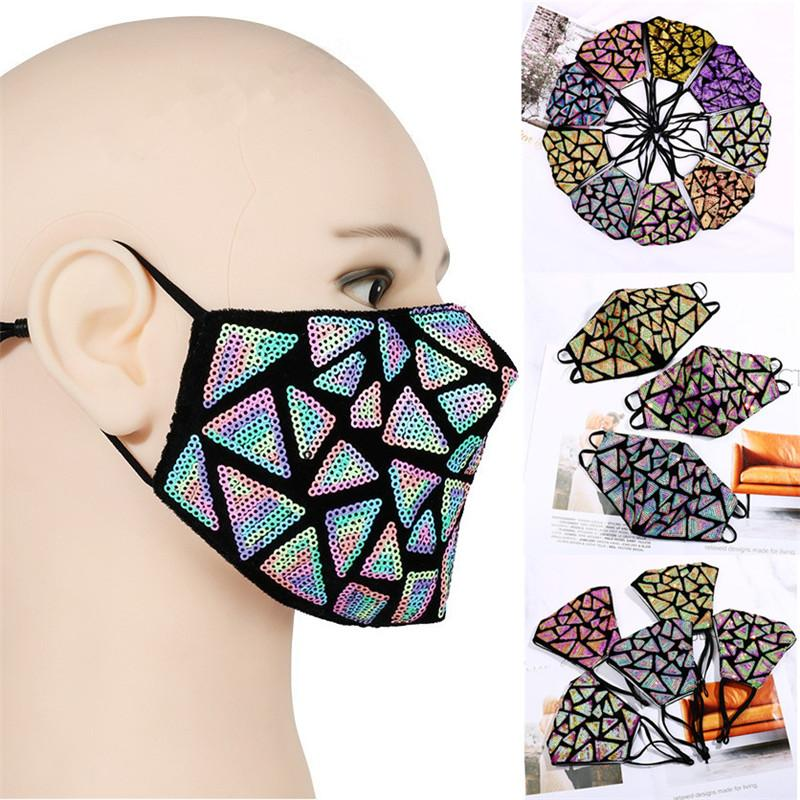 2021 Fashion embroidere Sequins Face mask Washable Breathable mask outdoor sport Windproof dust-proof Cycling Masks Designer Masks T9I001099