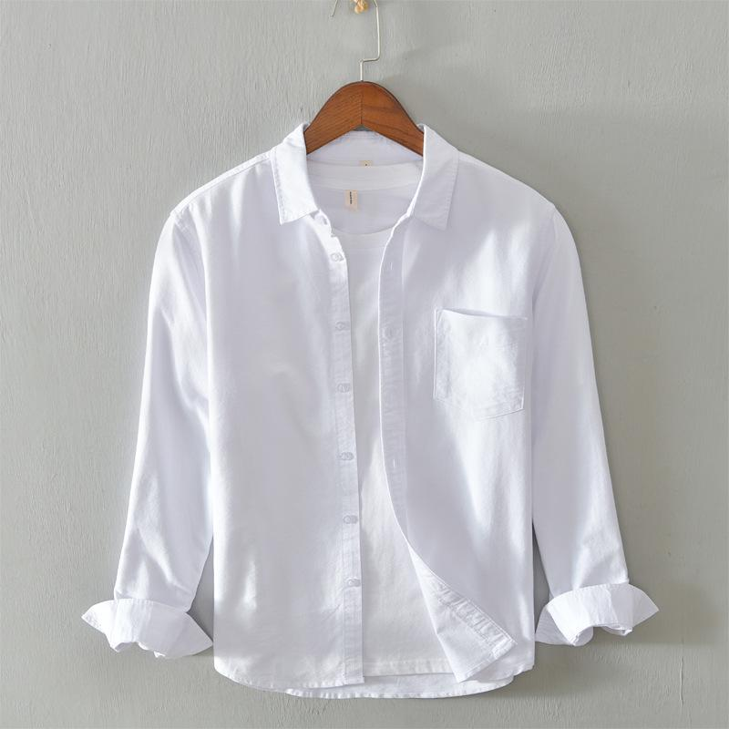 Men's Dress Shirts Oxford Cotton Shirt Solid Color Single-breasted Pocket Decoration Neat Lines Soft Breathable Autumn Long-sleeved