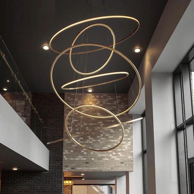 Golden Prestige Salle à manger Lampe Duplex Villa Escalier Grand lustre Circulaire Circular Bague Haute Salon Lampes DHL