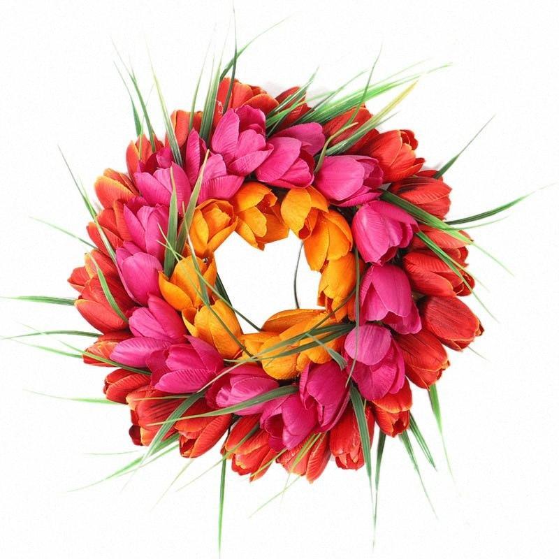 ГОРЯЧАЯ Моделирование Tulip Венок Домашнее украшение двери украшение висячего Висячие bwup #