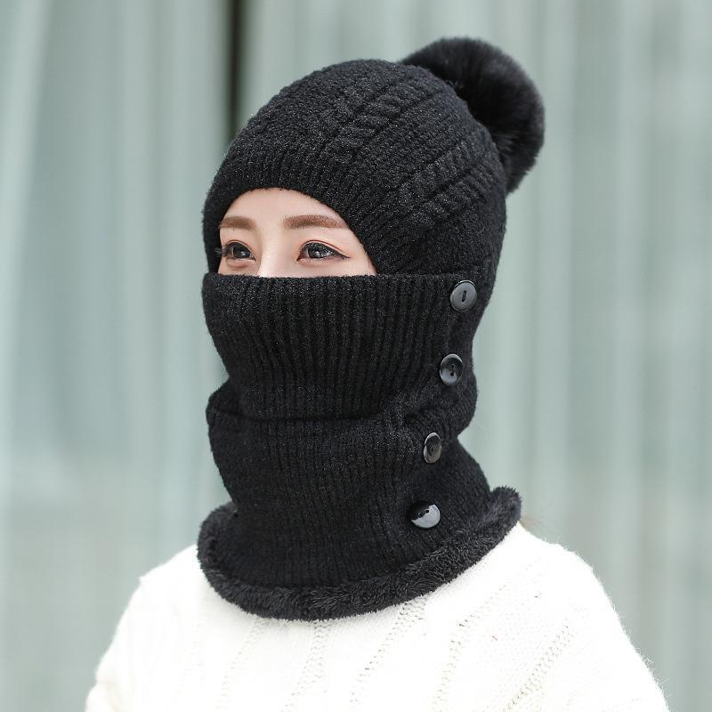 Hat Женщины 2020 Winter Knit Beanie Hat Neck Warmer руно Подкладка Череп Cap для женщин Открытый Повседневный для девочек